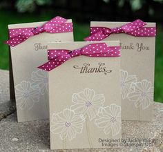 simple and beautiful Thank You Card #stampinup  - could also use the Secret Garden stamp for these