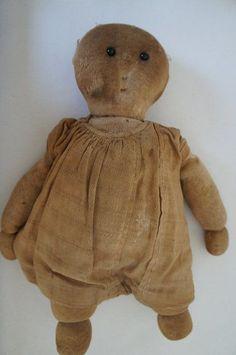 "Primitive Brown Muslin Craft Doll 6 1//2/"" High  Gingerbread Boy"