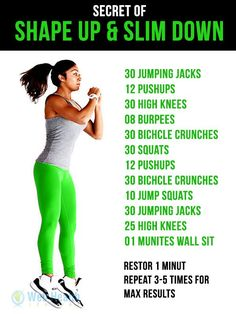 SHAPE UP & #SLIM #DOWN #EXERCISE #Exercise #Health #Fitness #Wellness #Weightloss #Beauty #shapeup #slimdown