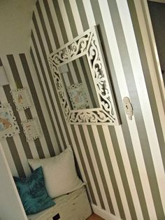 how to paint a stripes in your hallway Decor, Furniture, Home Decor, Striped Hallway, Hallway, Mirror