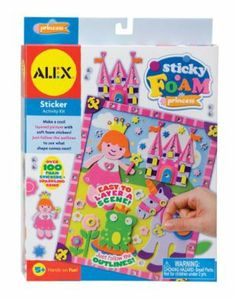 Alex Toys Sticky Foam Princess by ALEX TOYS. $6.48. 8.75c1.25 x 11.75. Layer adhesive foam pieces to create a colorful 3D scene. Each kit includes lots of stickers, printed board with fold-out stand, and easy instructions. Garden and Princess themes include stick-on gems.