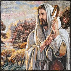 This is a hand-made marble religious mosaic displaying Jesus the Shepherd, with a cane in his hand and 2 sheeps behind him. This mosaic can be installed anywhere, ideally in religious areas; and can be customized by size and colors to go with any area., Get it now for $592.