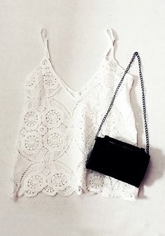 Lace spaghetti strap top and black body bag