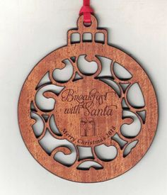 Mahogany Wood Ornament - customized with your logo engraved in the center! We have a variety of wood species options available as well. Wooden Ornaments, Engraved Gifts, How To Make Ornaments, Wood Species, Laser Engraving, Favors, Shapes, Logo, Unique