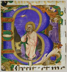 Initial B with King David in Prayer, ca. 1450 From a Benedictine psalter Zanobi Strozzi (Italian, 1412–1468) Italian (Florence)