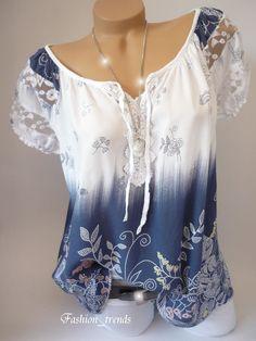 Die Farben und Muster können vom Original etwas abweichen wie z.B.: weisse Schulterstreifen oder blaue Schulterstreifen. Sommerliche und leichte Bluse/Tunika mit süssen Blumenmustern. Ärmel mit süsser Stickerei und Netzborte verziert. | eBay!