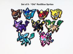 Pokemon Perler Eevee and Evolutions Old and New por ShowMeYourBits