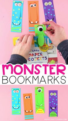 How to Make DIY Monster Bookmarks -Super easy Free Template! Use our free template to make a colorful big-nosed monster bookmark. Fun Halloween craft for kids and paper crafts. for kids easy diy DIY Monster Bookmarks Halloween Crafts For Kids, Paper Crafts For Kids, Projects For Kids, Paper Crafting, Diy For Kids, Diy Projects, Diy Halloween, Halloween Projects, Cereal Box Craft For Kids