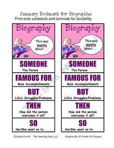 Summary Bookmarks - what a great reminder strategy to help students summarize information from a biography. #summarize #summarize text #summarize story #summarize-text #summarize-story #summarizing strategies #summarizing-strategies #retell #retell story #retell-story #retell-strategies