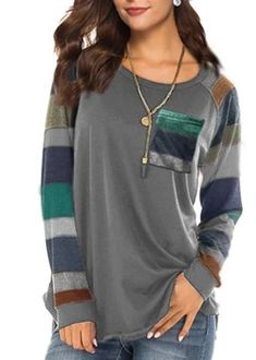 Women's Casual Long Sleeve Round Neck Gray Loose Tunic T Shirt With Po – Sampeel Women's Casual, Children Clothes, Clothes For Women, Sexy Shirts, Long Sleeve Tunic, T Shirt, Fashion Fall, Latest Fashion Trends, Reindeer