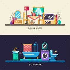 Flat Design Home Interior Banners, Headers Set