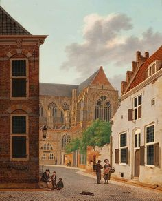 Hendrik van Oort (Utrecht 1775 - View of the cathedral seen from the Domstraat in Utrecht - Signed and dated 1818 l. Great Paintings, Utrecht, Roman Empire, Old Houses, Netherlands, Dutch, Cathedral, Auction, Tower