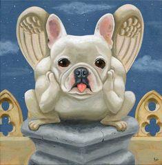 French Bulldog Frenchie Gargoyle Dog Art PRINT by rubenacker, $18.00