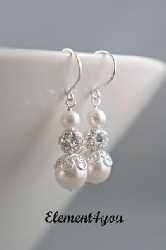 EARRINGS - Bridal Earrings Bridal Jewelry Bridesmaids Gift Wedding Bridal Party Gift Bridesmaids Jewelry Ivory White Champagne Blue Pearl on Etsy, $16.95