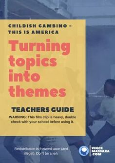 Creating Themes using Childish Gambino - This is America We can do your homework for you. Middle School Teachers, School Fun, High School, English Writing, Teaching English, Childish Gambino Songs, Teaching Computers, Teaching Themes, Teacher Boards