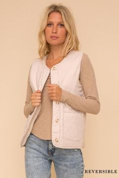 Reversible Fleece Vest 100% Polyester Button-Front Front Pockets Reversible In Stock