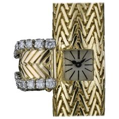 Cartier Ladies Gold Diamond Case manual wind Wristwatch  | From a unique collection of vintage wrist watches at https://www.1stdibs.com/jewelry/watches/wrist-watches/