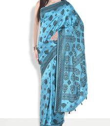 Buy Firozi hand_woven handloom saree with blouse handloom-saree online