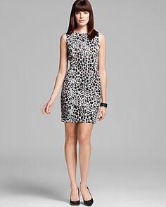 Aqua Animal Print Sheath Dress