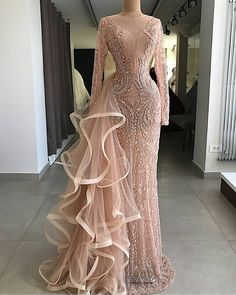 Cheap Evening Dresses, Buy Directly from China Suppliers:Couture Mermaid Formal Evening Dresses With Long Sleeves Handmade Beaded Crystal Tulle Illusion Party Gown For Weddings 2018 Long Sleeve Evening Gowns, Prom Dresses Long With Sleeves, Formal Evening Dresses, Elegant Dresses, Pretty Dresses, Dress Long, Lace Dresses, Cheap Dresses, Party Gowns