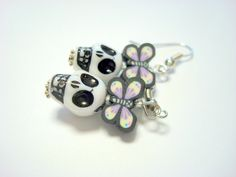Black and White Plastic Sugar Skull and Butterfly Earrings by PennysLane, $6.50