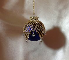 Christmas/Mardi Gras beaded ornament cover/royal by ElegantPerle