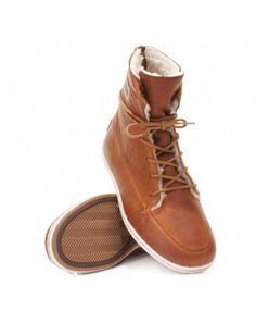 Hub Song Leather Boots - Brown/ White