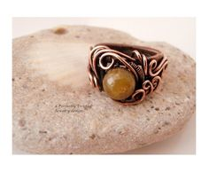 Wire Wrap Ring, Size 7, Green Garnet Stone Bead, Handmade Wire Weaved Jewelry, One of a Kind, Antiqued Copper Wire Jewelry, by PerfectlyTwisted on Etsy https://www.etsy.com/listing/201621678/wire-wrap-ring-size-7-green-garnet-stone