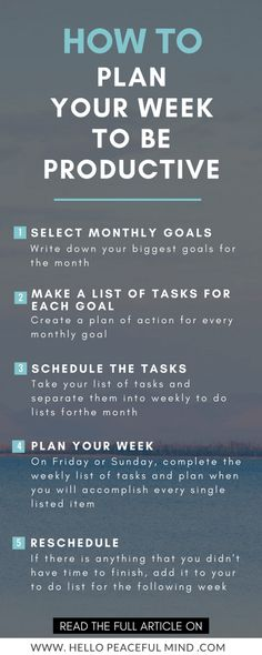 How to plan your week to be productive | Monthly Goals | Action Steps | Task List | Goal Setting | Personal Growth Saved by: Erin Dickson www.gravitylifecoaching.com