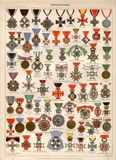Medals, Orders & Decorations, 1897 Antique Print, Vintage Lithograph, Military Orders, Uniforms Military, Order of Merit, Medal Awards