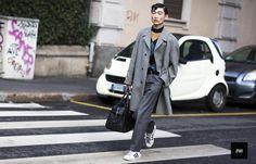 Korean Model Sang Woo Kim wearing Adidas Superstar in Milan Fashion Week Fall Winter 2015.