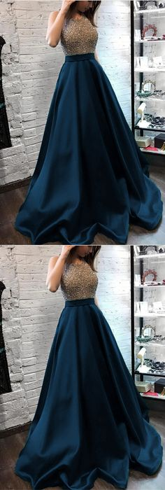 Sparkly Beaded Halter Long Satin Evening Gowns Open Back Pro.- Sparkly Beaded Halter Long Satin Evening Gowns Open Back Prom Dresses Long Evening Dress - Long Gown Dress, Lehnga Dress, Dress Prom, Halter Gown, Dress Formal, Long Satin Dress, Homecoming Dresses, Indian Gowns Dresses, Indian Fashion Dresses