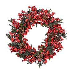 Found it at Wayfair - Berry and Pinecone Wreath
