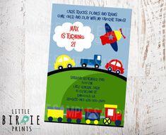 AVIÓN tren coches transporte invitación por littlebirdieprints