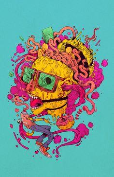 Illustrations by Raul Urias: . Art And Illustration, Inspiration Art, Art Inspo, Arte Dope, Tachisme, Posca Art, Psychedelic Art, Grafik Design, Monster