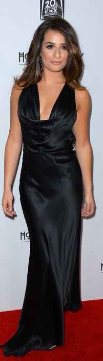 Who made Lea Michele's black gown, shoes, jewelry and purse that she wore in Hollywood on October 13, 2012? Dress – Armani  Shoes – Rene Cavalina  Jewelry – Samira 13  Purse – Fendi