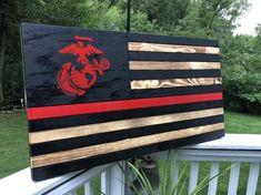 Marine Flag, Marine Mom, Marine Corps, Marine Military, Marine Gifts, Military Gifts, Marines Girlfriend, American Flag Pallet, Engraved Wood Signs