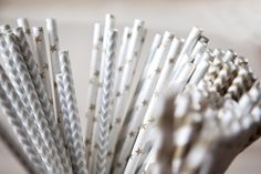 Set of 25 Soft Metallic Paper Straws - Wedding in a Teacup