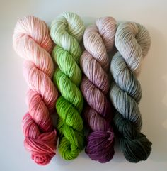 Three Irish Girls yarn (pink - Ravishing Coral; light green - Paradise; purple - Berry Bash; dark green - Rosemary) I love the gradient/ombre colors!
