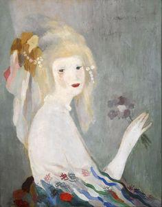 peinture française : Marie Laurencin, tête de femme, gris pâle, femmes artistes, 1920s, 1930s, 1940s, portrait