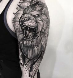 Stunning dotwork lion tattoo by Frank Carrilho