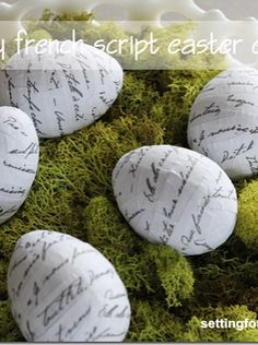 So easy! DIY French Script Easter Eggs from Setting for Four. #easter #egg #craft #diy #spring