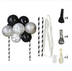 Deze ballon taarttopper maakt van iedere taart een feestje! In de kleuren zwart, zilver en wit. Maak van deze ballonnen een mooie taartversiering. Let op: deze taarttopper wordt geleverd als DIY-pakket en is eenvoudig in elkaar te zetten! Blijft de confetti in de ballon liggen? Wrijf hem dan even langs een spijkerbroek of handdoek. De ballon wordt dan statisch waardoor de confetti aan de zijkant plakt. Mini Balloons, Large Balloons, Balloon Cake, Balloon Arch, Birthday Party Decorations, Birthday Parties, Wedding Cake Toppers, Confetti, Creative