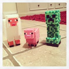 3D Minecraft sheep, pig and Creeper hama perler beads by mysti_unicorn
