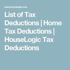 List of Tax Deductions   Home Tax Deductions   HouseLogic Tax Deductions