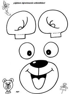 SEVİMLİ BALONLAR YAPMAMIZ İÇİN FİGÜRLER :) | OKUL ÖNCESİ FORUM Creation Coloring Pages, Colouring Pages, Paper Bag Puppets, Hand Puppets, Animal Crafts, Paper Toys, Art Projects, Diy And Crafts, Pattern