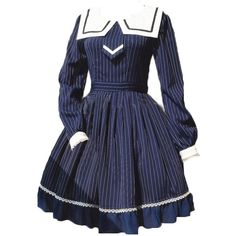 Partiss Women's Dark Navy Bows Stripe Lolita Dress ($65) ❤ liked on Polyvore featuring dresses, stripe dress, blue striped dress, striped dress, bow dress and blue dress