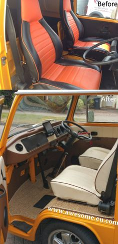 Late bay 1979 VW Campervan. Dashboard, seat edge trims and flooring all blend perfectly to create an interior which compliments the camper's external paint colour.