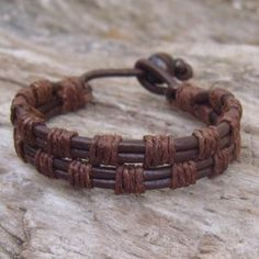 Brown leather and hemp woven bracelet. Links for this item no longer work but it…