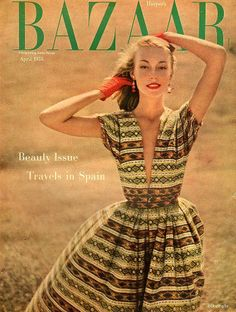 Liz Pringle in silk surah print dress by Sophie for Saks Fifth Avenue, cover photo by Richard Avedon at Round Hill Jamaica, April 1955